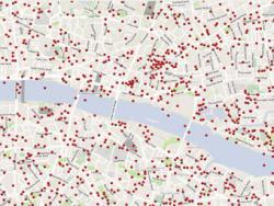 Великобритания, интерактивная карта,  бомбардировки,  Лондон,  нацисты